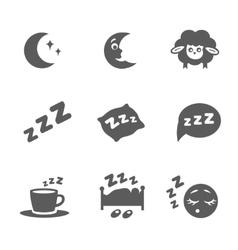 isolated sleep icons set vector image vector image