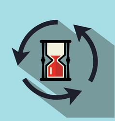 sand clock icon with circle arrows vector image vector image