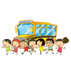 Students and school bus vector image vector image