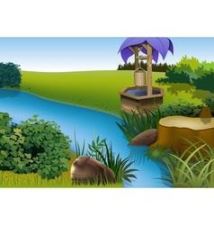 Summer Landscape and Rivulet vector image vector image