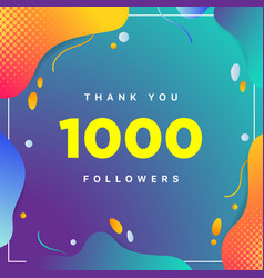 1000 or 1k followers thank you colorful geometric vector
