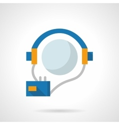 Audio courses flat color design icon vector