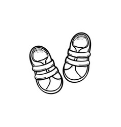 Baby shoes hand drawn outline doodle icon vector