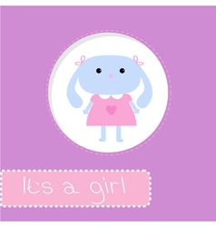 Baby shower card with bunny Its a girl vector