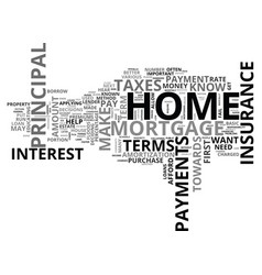 Basic mortgage terms text word cloud concept vector