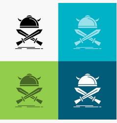 battle emblem viking warrior swords icon over vector image