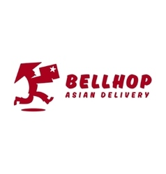 Bellhop Asian deliveryman runs speed delivery vector