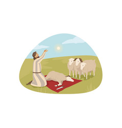 bible religion character sacrificial offering vector image