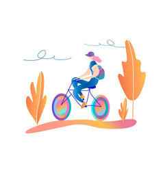 bicycle riding girl a walk on the bike vector image