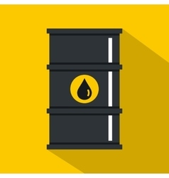 Black oil barrel icon flat style vector