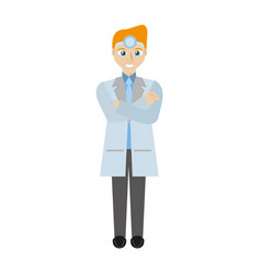Blond doctor man wearing head mirror vector