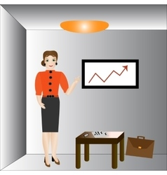 Businesswoman in suit making presentation vector image