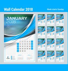 Calendar template for 2018 year set of 12 months vector