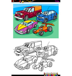 Car characters group coloring book vector