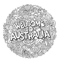 Cartoon cute doodles hand drawn welcome vector