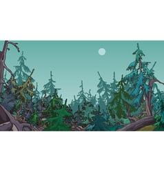 Cartoon dense coniferous forest vector