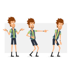 cartoon flat hipster boy character set vector image