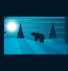 cartoon flat tlandscape bear fir vector image