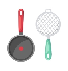 Cartoon pan cooking pot vector image