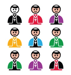 Catholic church pope icon set vector