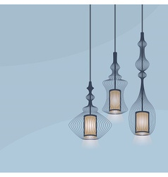 Chandelier lights icons set on blue background vector