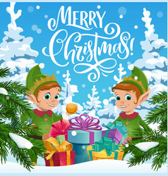 Christmas elves with gifts xmas winter holidays vector