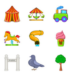 Cirque icons set cartoon style vector