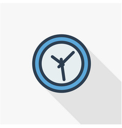 clock time watch thin line flat color icon vector image
