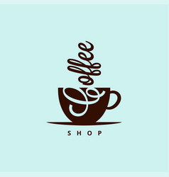 Coffee cup logo sign shop vector
