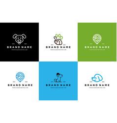 Collection dog logo design vector