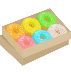 colorful donuts cartoon set box with doughnuts vector image