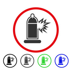 condom penis damage rounded icon vector image