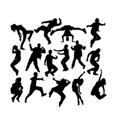 cool hip hop dancing silhouettes vector image