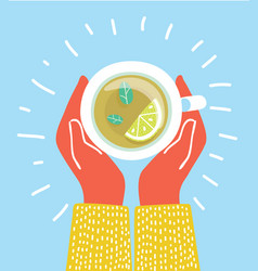 cup of tea in hands brewed herbal tea with lemon vector image