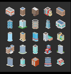 Different buildings icons pack vector