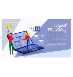 Digital marketing landing page template vector