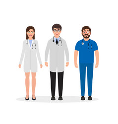 doctors dressed in medical uniform two men and vector image