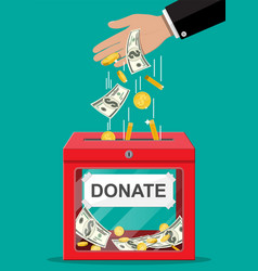 donation box with golden coins dollar banknotes vector image