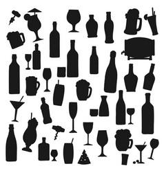 drinks black silhouettes beverages set vector image