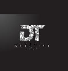 Dt d t letter logo with zebra lines texture vector