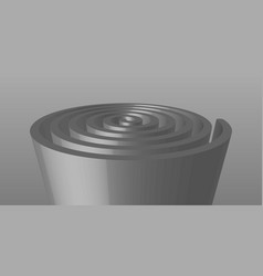 Extruded spiral sculpture in gray vector