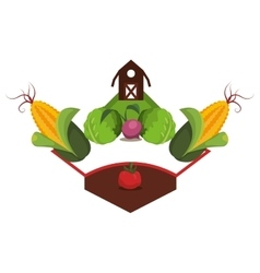 Farm emblem with vegetables icon vector
