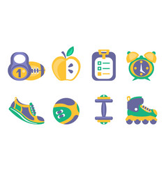 fitness and sport icons set healthy lifestyle vector image
