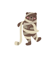 Flat bear mummy wrapped in toilet paper vector