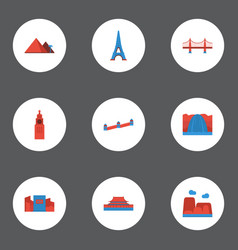 Flat icons bridge beijing japan and other vector