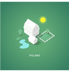 Flat isometric buildings Village vector image