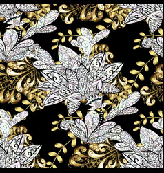 Floral ornament brocade textile pattern glass vector