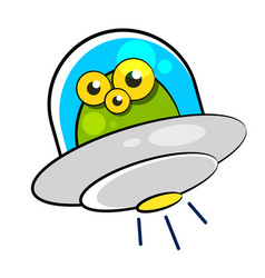 Flying saucer with humanoid on vector
