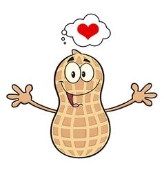 Funny inlove peanut cartoon vector