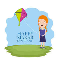 Girl with kite to celebrate makar sankranti vector